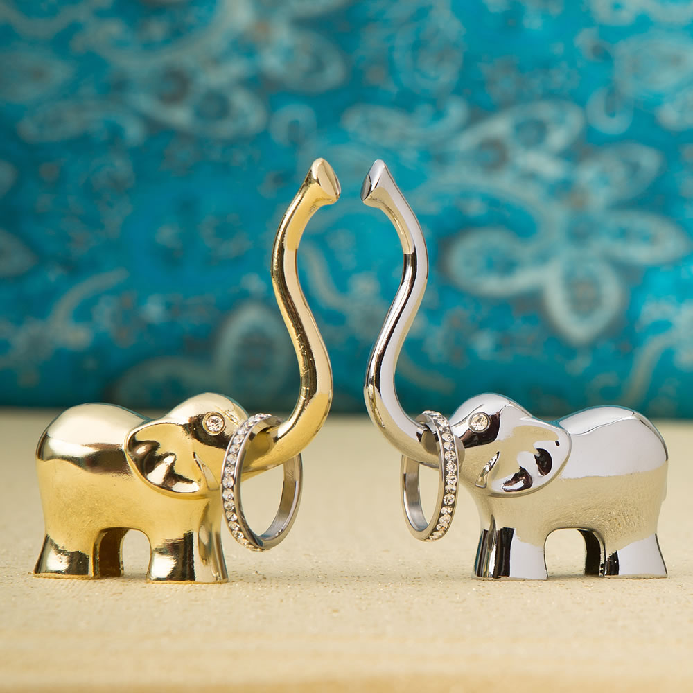Lucky Elephant Ring Holder in Silver and Gold from HotRef
