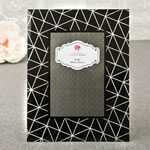 Stunning Black geometric glass frame 4 x 6 with silver glitter