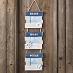 Beach Boat and Ocean Triple hanging frame