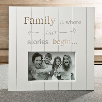White MDF laser cut Family 6 x 4 frame from gifts by fashioncraft