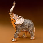 Ornate Champagne Gold antique standing elephant with clear stones