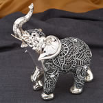 Medium silver and marble elephant - Boho Charcoal fiesta from gifts by fashioncraft
