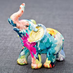 Rainbow floral colored mini elephant from gifts by fashioncraft