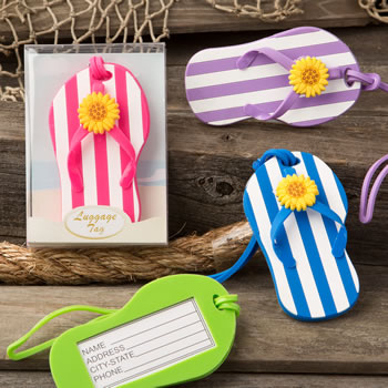 Flip Flop luggage Tags with striped design from gifts by Fashioncraft®