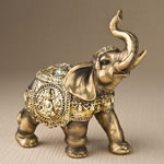Medium Antique bronze elephant with shiny gold accents from gifts by fashioncraft