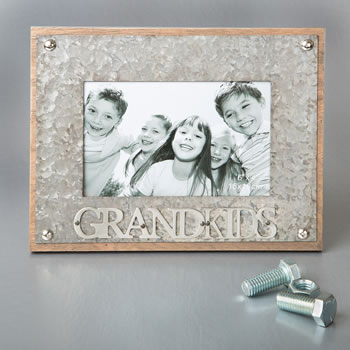 gifts by fashioncraft industrial style metal frame 4 x 6 - GRANDKIDS
