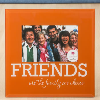 Glass FRIENDS frame - 6 x 4 - orange and White