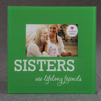 Glass SISTERS frame - 6 x 4 - green and White