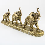 "triple elephant standing in a row figurine - 19"" long"