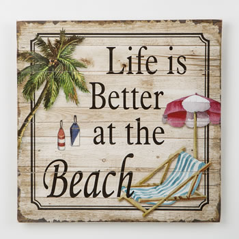 Life is Better at the Beach - wood wall plaque from gifts by fashioncraft