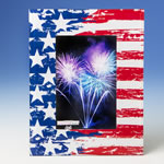 Patriotic stars and stripes 4x6 glass frame