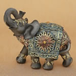 Mahogany Brown elephant with colorful headdress and blanket - large size