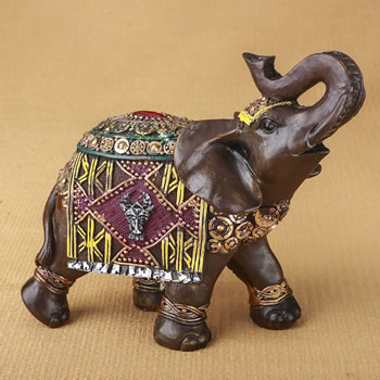 Indian elephant with colorful blanket and headdress - 6""