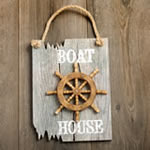 Ships Wheel Plaque - BOAT HOUSE in white - driftwood edge