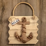 Anchor wall plaque - Relax - distressed wood edge