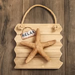 Starfish wall plaque - Relax - distressed wood edge
