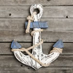 Distressed look Anchor wall plaque - large size from gifts by fashioncraft