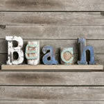 Driftwood BEACH standing plaque with wood base