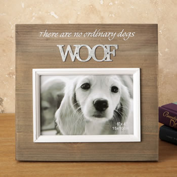 Wood frame with raised metal words - 6 x 4 - WOOF: Fashioncraft