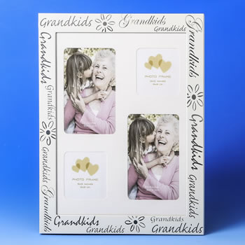 grandkids 4 opening collage white frame with silver silk screen ...