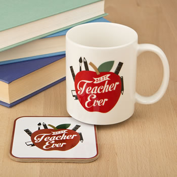 Best teacher ever mug with coaster set
