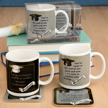 Grad mug & Coaster set - 2 assorted styles from gifts by fashioncraft