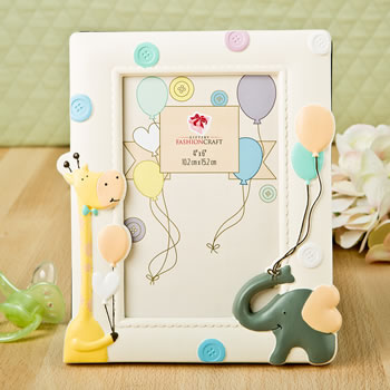 Adorable Giraffe and elephant baby frame 4x6