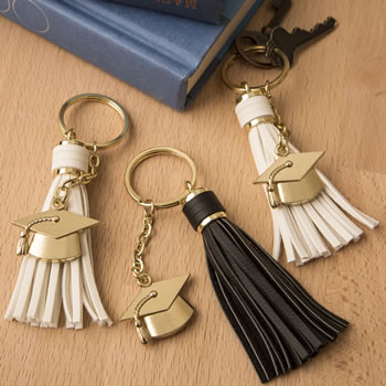 Tassel key chains - Graduation with gold grad cap charm