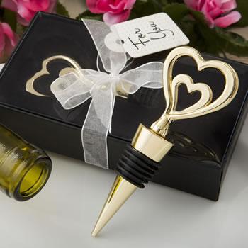 15 72 Double Heart Gold Wine Bottle Stopper Wedding Party Favor Ebay