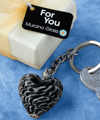 <em>Murano Glass  Collection</em> Heart Design Key Chain Favors