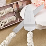 Engraved Vintage double heart design knife and cake server set