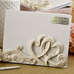 Engraved Vintage style double heart design guest book from fashioncraft
