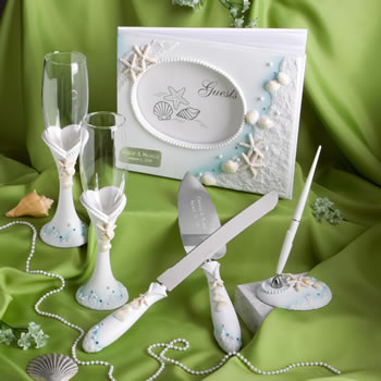 <em>Finishing Touches  Collection</em> Of Engraved Beach Themed Wedding Day Accessories