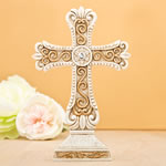 Antique design Cross statue in ivory and matte gold from fashioncraft