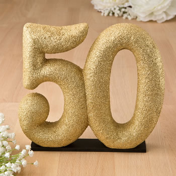 50th themed gold glitter Center piece / Cake Topper