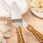 Gold lattice botanical collection engraved stainless cake knife set