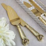 Two Piece engraved cake knife set from fashioncraft