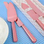 Simple elegance classic pink gold stainless steel cake knife set