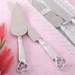 two piece shiny silver engraved cake knife set
