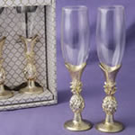 Set of 2 gold pineapple themed toasting flutes
