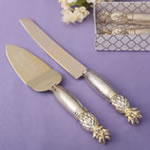 Two Piece gold pineapple Themed encraved Cake Knife Set