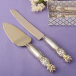 Two Piece gold pineapple Themed Cake Knife Set With Stainless Steel Blades