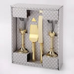 Gold 4 piece glass and engraved server set