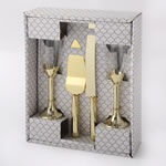 Gold 4 piece glass and server set