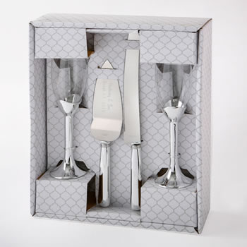 Plain  Elegance Silver 4 piece glass and engraved server set