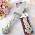 Vintage double heart design engraved cake server