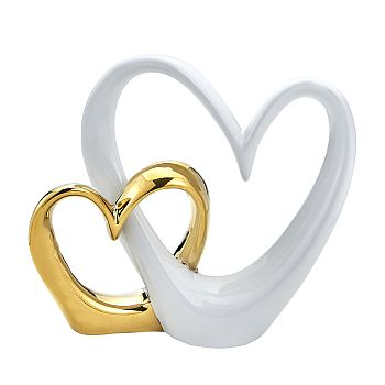 Double Open Heart Cake Topper Gold and White