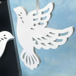 Heaven Sent Collection elegant White Wood Dove Ornament
