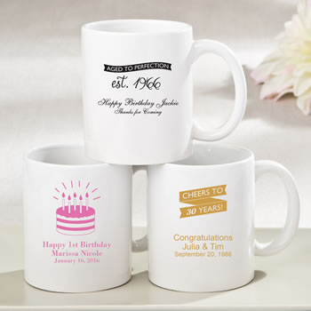 Personalized White ceramic coffee mug - birthday design