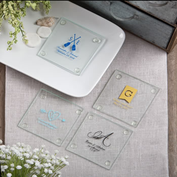 Stylish Coasters from Fashioncraft®'s Silkscreened Monogram Collection